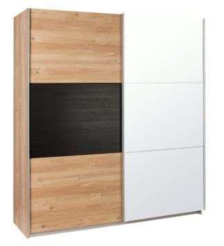 An Image of Argos Home Holsted Extra Large Mirror Wardrobe - Oak & Black