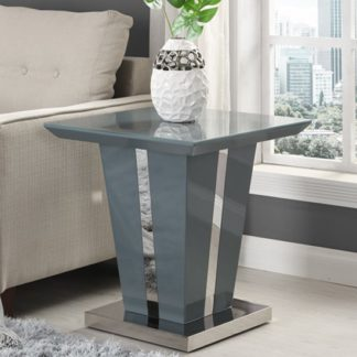 An Image of Memphis Lamp Table Square In Grey High Gloss With Glass Top