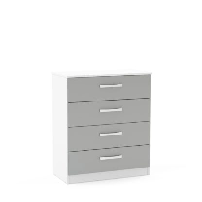 An Image of Lynx White and Grey 4 Drawer Chest Grey