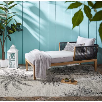 An Image of Palm Tree Indoor Outdoor Rug Cream and Black