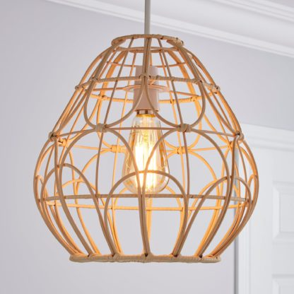 An Image of Decorative Cane Easy Fit Pendant Natural White