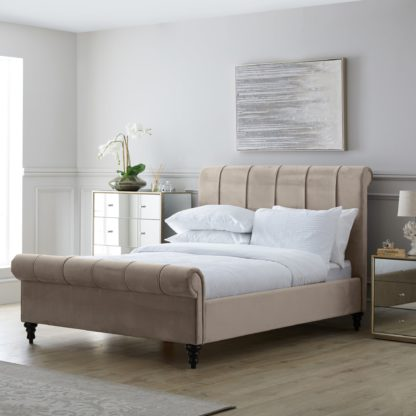 An Image of Classic Taupe Pleated Bed Taupe (Cream)