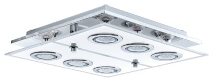 An Image of Eglo Cabo Large 6 LED Ceiling Light - Chrome