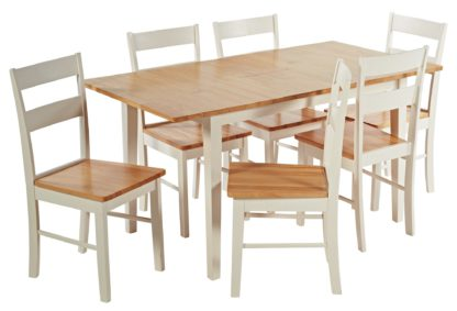 An Image of Habitat Chicago Solid Wood Extending Table & 6 Chairs