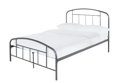 An Image of Habitat Pippa Double Metal Bed Frame - Grey