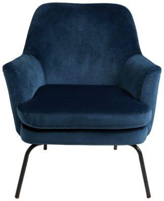 An Image of Habitat Celine Velvet Accent Chair - Blue