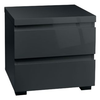 An Image of Puro Grey 2 Drawer Bedside Cabinet Grey