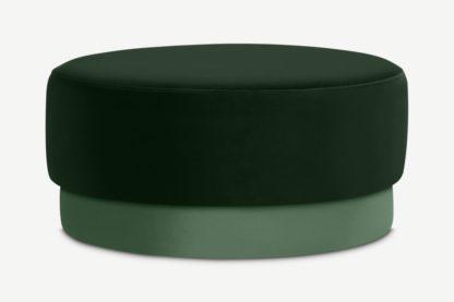 An Image of Volta Pouffe, Large, Pine Green & Soft Jade Velvet