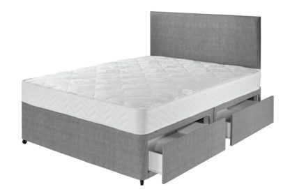 An Image of Argos Home Elmdon Comfort 4 Drawer Small Double Divan - Grey