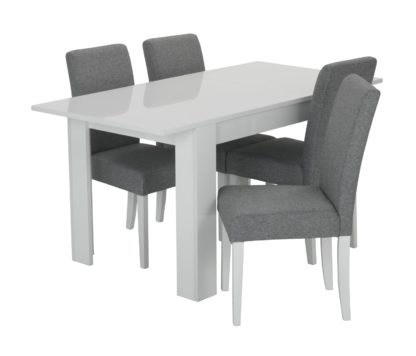 An Image of Habitat Miami Gloss Extending Table & 4 Tweed Chair -Grey