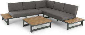 An Image of Topa Garden Corner Lounge Set, Acacia Wood and Grey