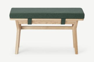 An Image of Jenson End-of-Table Dining Bench, Bay Green & Oak