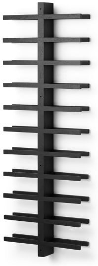 An Image of Clover Acacia Wood 22 Bottle Wall Mounted Wine Rack, Black Stain