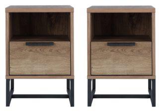 An Image of Habitat Nomad 2 Bedside Tables Set - Oak Effect