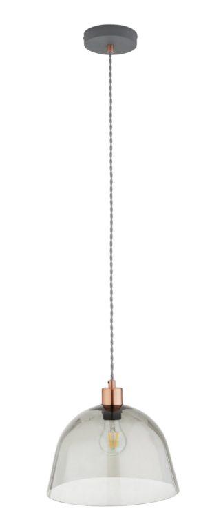 An Image of Argos Home Highland Lodge Glass Pendant Light - Grey