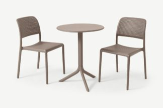 An Image of Nardi 2 Seat Bistro Set, Light Grey Fibreglass & Resin