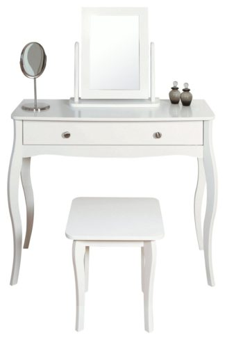 An Image of Amelie Dressing Table, Mirror and Stool - White
