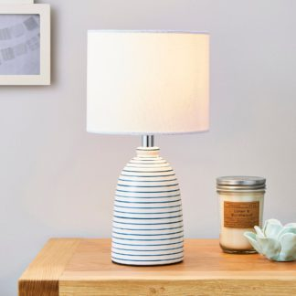 An Image of Tenby Ceramic White and Blue Table Lamp White
