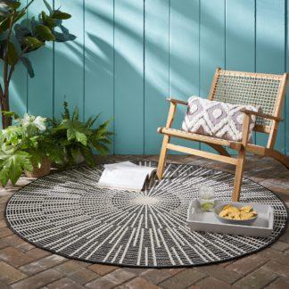 An Image of Sticks Indoor Outdoor Circle Rug Grey