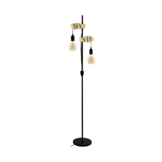 An Image of Eglo Townshend Hung Floor Lamp - Black and Oak