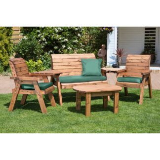 An Image of Charles Taylor 4 Seater Wooden Conversation Set with Green Seat Pads Brown