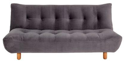An Image of Habitat Kota 3 Seater Velvet Clic Clac Sofa Bed - Grey
