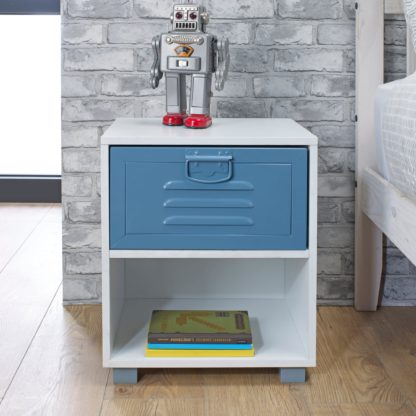 An Image of Blue Metal Bedside Cabinet Blue and White