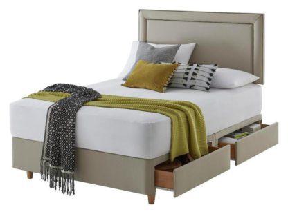An Image of Silentnight Toulouse 4 Drawer Superking Divan Bed -Sandstone