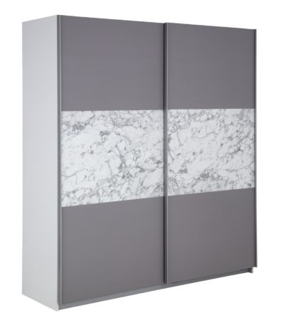 An Image of Habitat Holsted Large Sliding Wardrobe - Grey & Marble