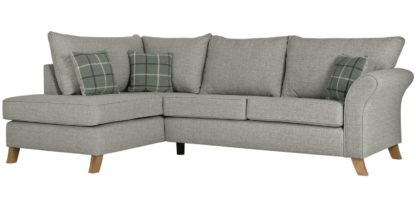 An Image of Argos Home Kayla Left Corner Fabric Sofa -Light Grey