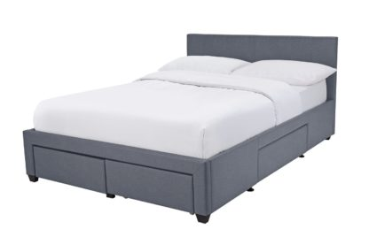 An Image of Habitat Heathdon 4 Drawer Double Bed Frame - Grey