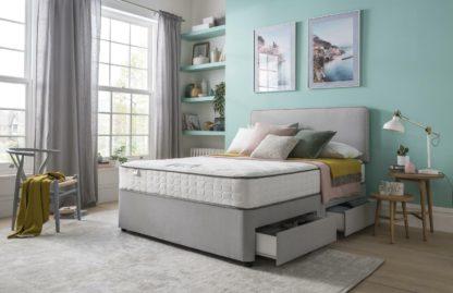 An Image of Silentnight Pavia Comfort 4 Drawer Grey Divan - Double