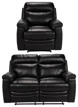 An Image of Argos Home Paolo Chair & 2 Seater Manual Recline Sofa -Black