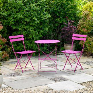 An Image of Kingfisher Pink Metal 2 Seat Bistro Set Pink