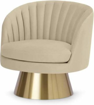 An Image of Sylvie Swivel Accent Armchair, Porcelain Velvet