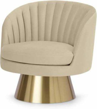 An Image of Sylvie Swivel Accent Armchair, Porcelain Velvet