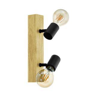An Image of Eglo Townshend 3 Light Spotlight - Black and Oak