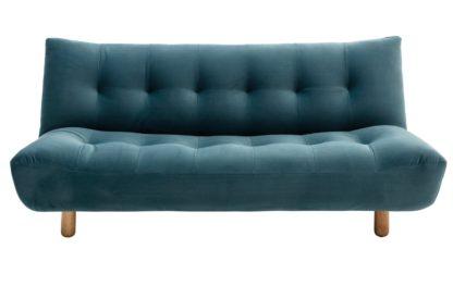 An Image of Habitat Kota 3 Seater Velvet Sofa Bed - Teal