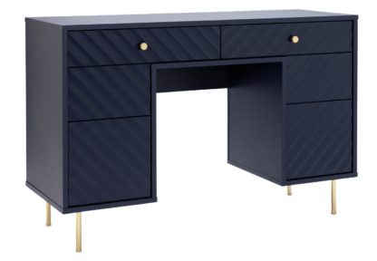 An Image of Dutch Glam 6 Drawer Dressing Table - Blue