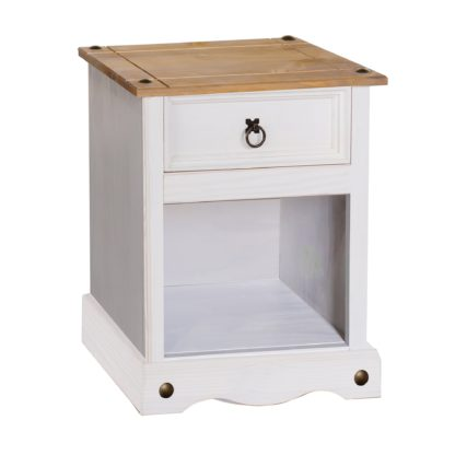 An Image of Corona 1 Drawer White Bedside Cabinet White