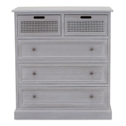 An Image of Lucy Cane Grey 5 Drawer Chest Slate (Grey)