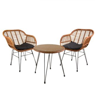An Image of Wicker 2 Seater Bistro Set Natural
