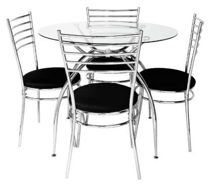 An Image of Argos Home Lusi Glass Dining Table & 4 Cream Chairs