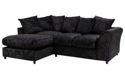 An Image of Argos Home Megan Left Corner Fabric Sofa - Black