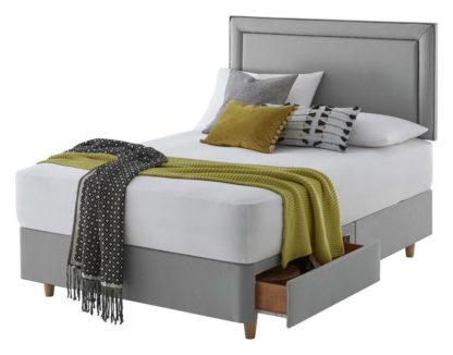 An Image of Silentnight Toulouse Small Double 2 Drawer Divan Set - Grey
