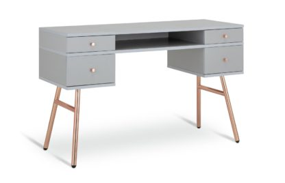 An Image of Habitat Valence 4 Drawer Pedestal Desk - Grey & Rose Gold