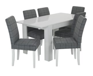 An Image of Habitat Miami Gloss Extending Table & 6 Chairs - Blue
