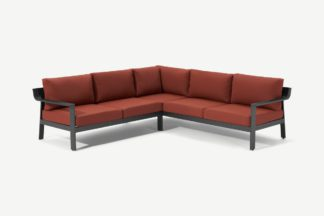 An Image of Kochi Garden Corner Lounge Set, Charcoal & Auburn Red