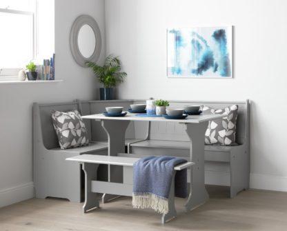 An Image of Argos Home Haversham Corner Dining Set & Bench - Grey
