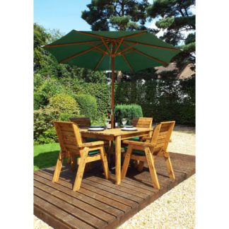 An Image of Charles Taylor 4 Seater Wooden Square Dining Set with Green Seat Pads and Parasol Brown